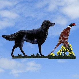 Architectural Castings: weathervane-black-dog-pheasant-painted