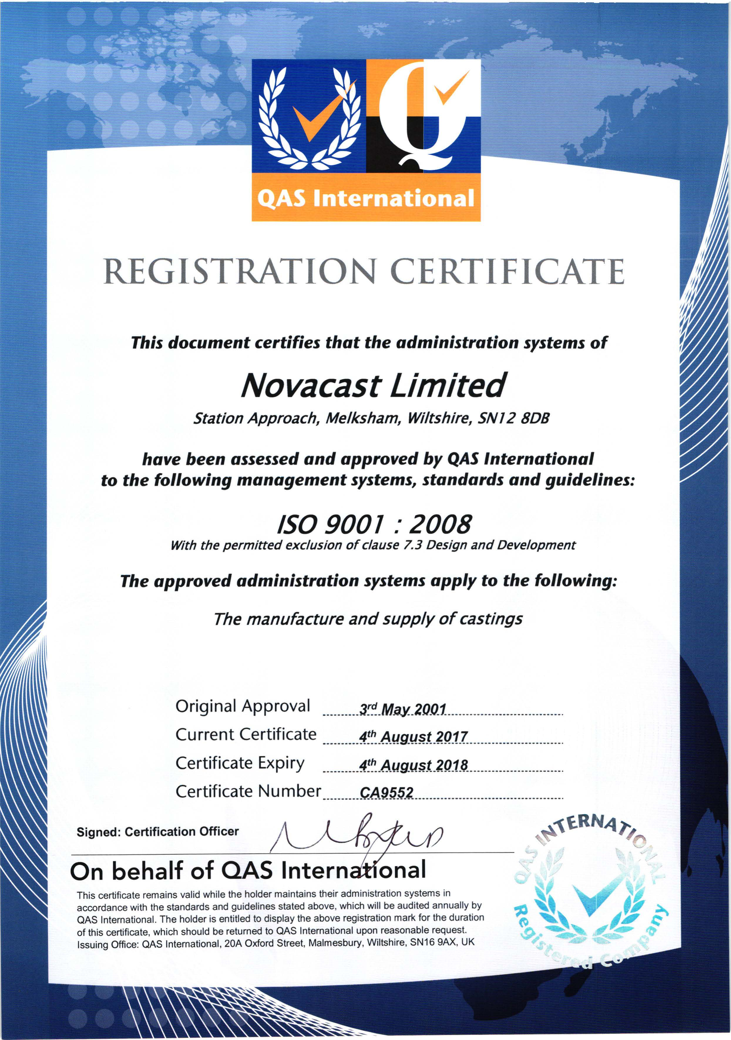 Novacast Is Certified To Iso 9001 Certification Uk Foundry