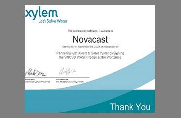 NovaCast -Xylem WASH Pledge Certificate